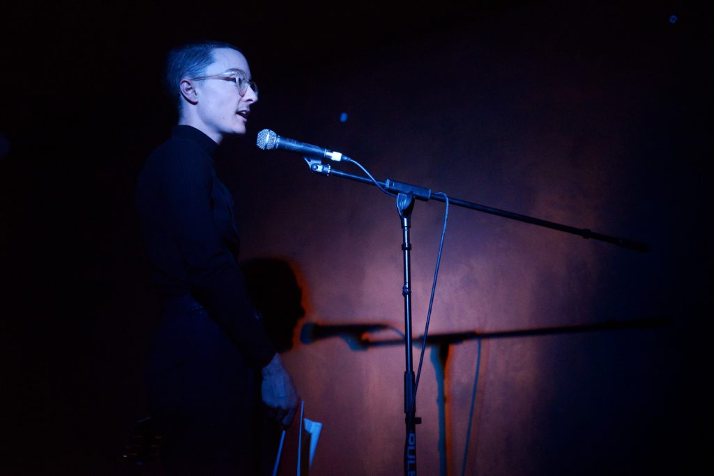 Eris Young, reading at Launch Party, ROST. Photo: Andrew Mckenna
