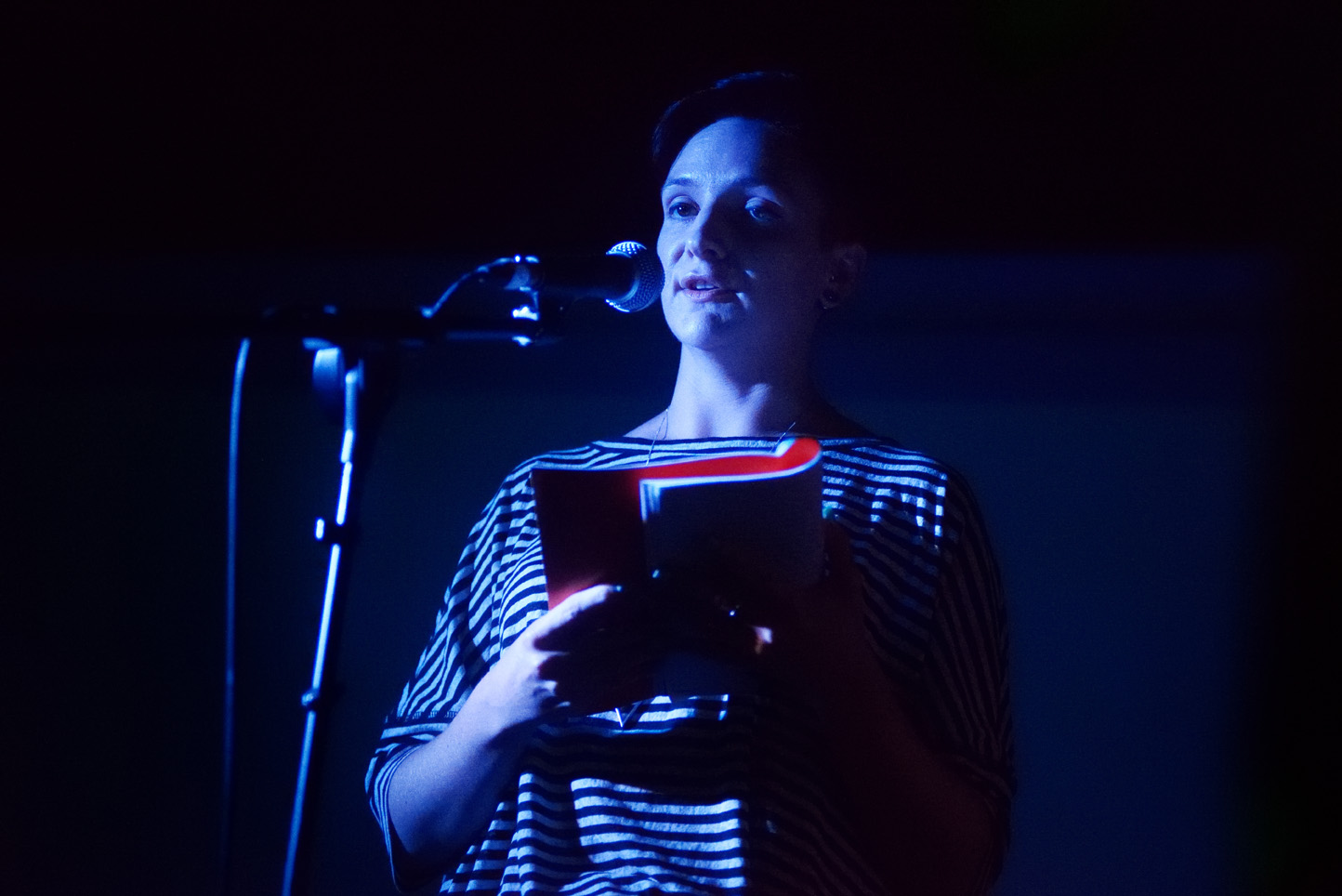 Heather Parry, reading at Launch Party, ROST. Photo: Andrew Mckenna