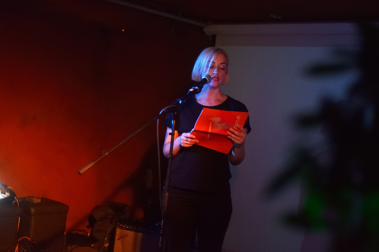 Niamh Moloney, reading at Launch Party, ROST. Photo: Andrew Mckenna