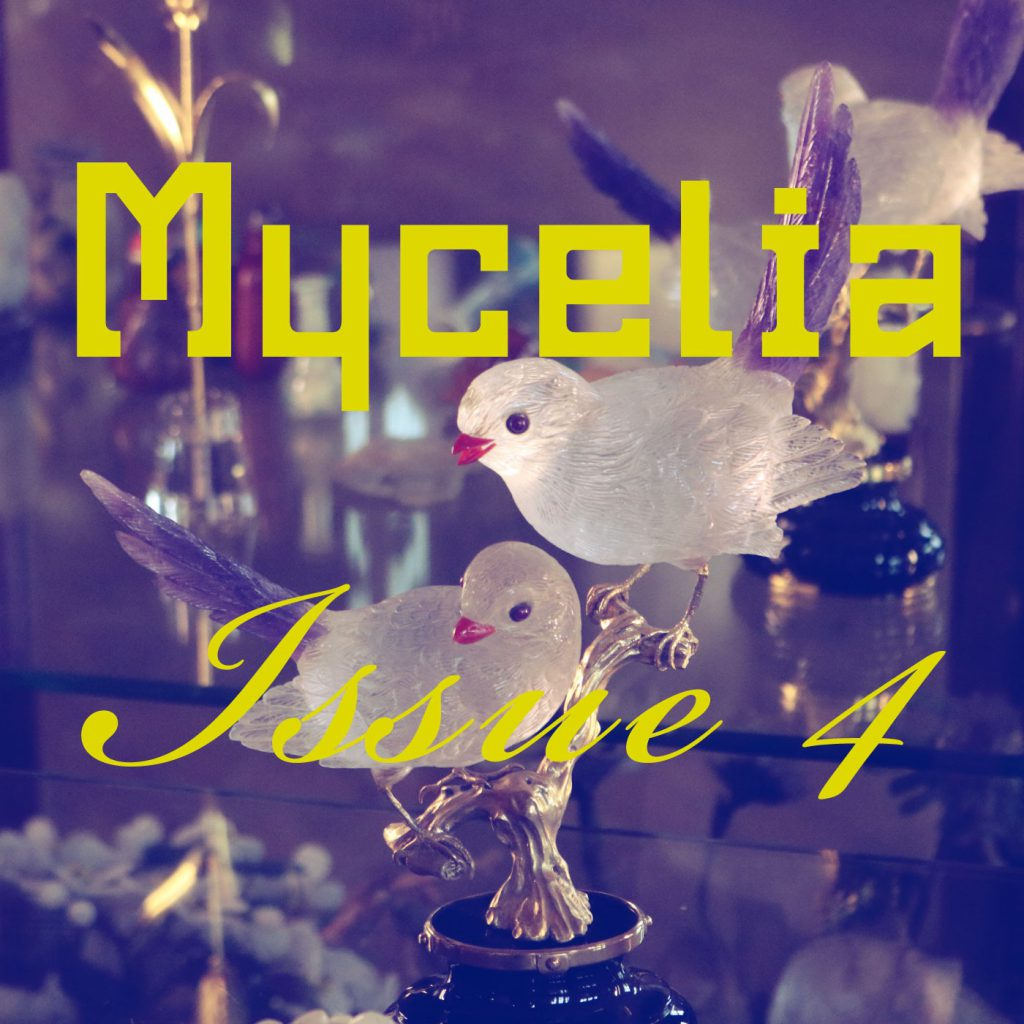 Two small frosted glass birds face outward, looking toward the bottom left corner of the square graphic. A violet filter washes the scene. Acid yellow text superimposed says: Mycelia Issue 4.